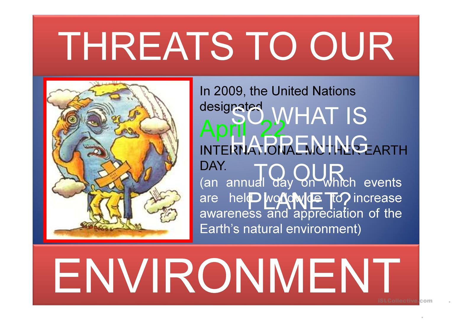 Threats To Our Environment Worksheet