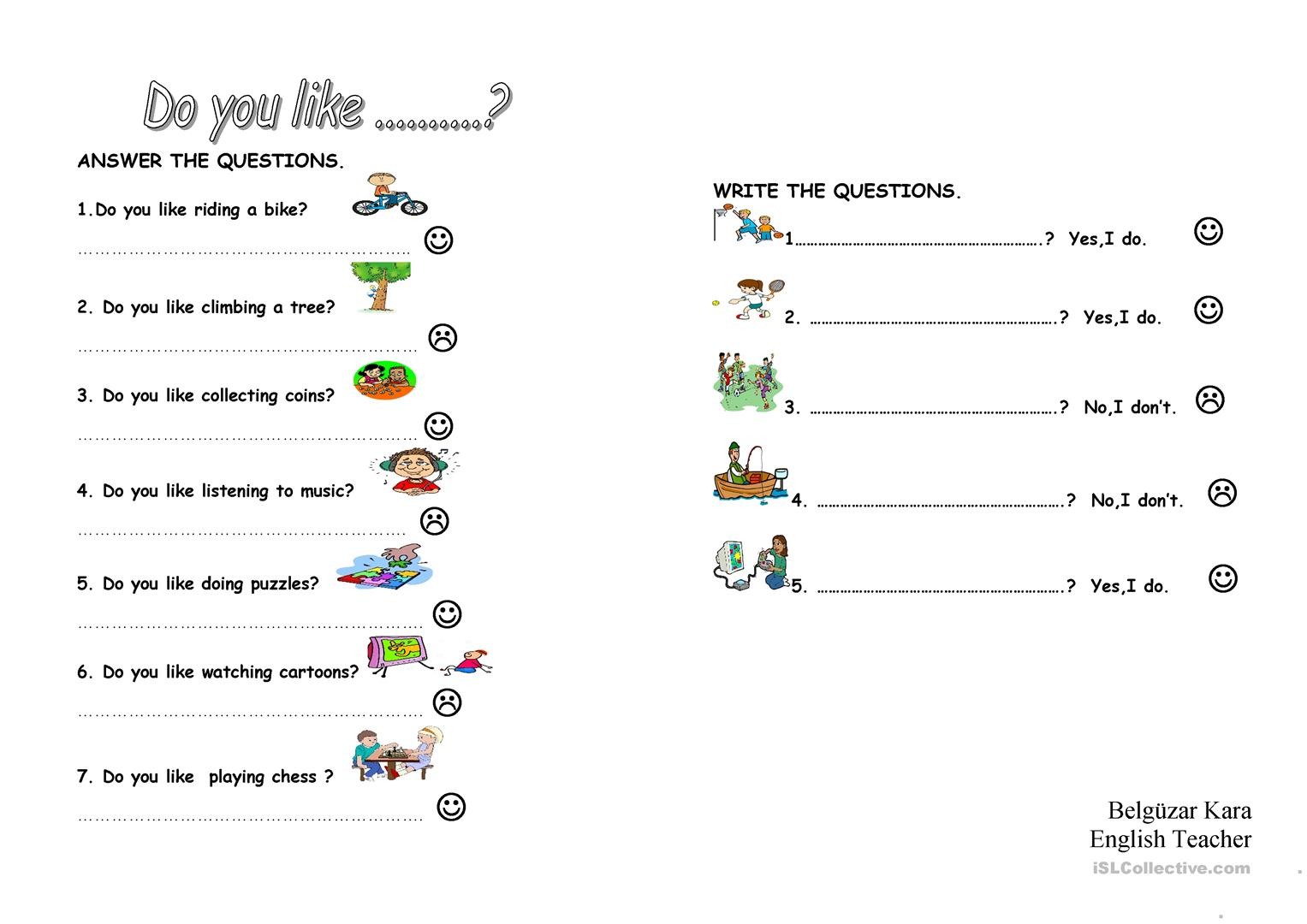 What Do You Like To Do Like Dislike Worksheet