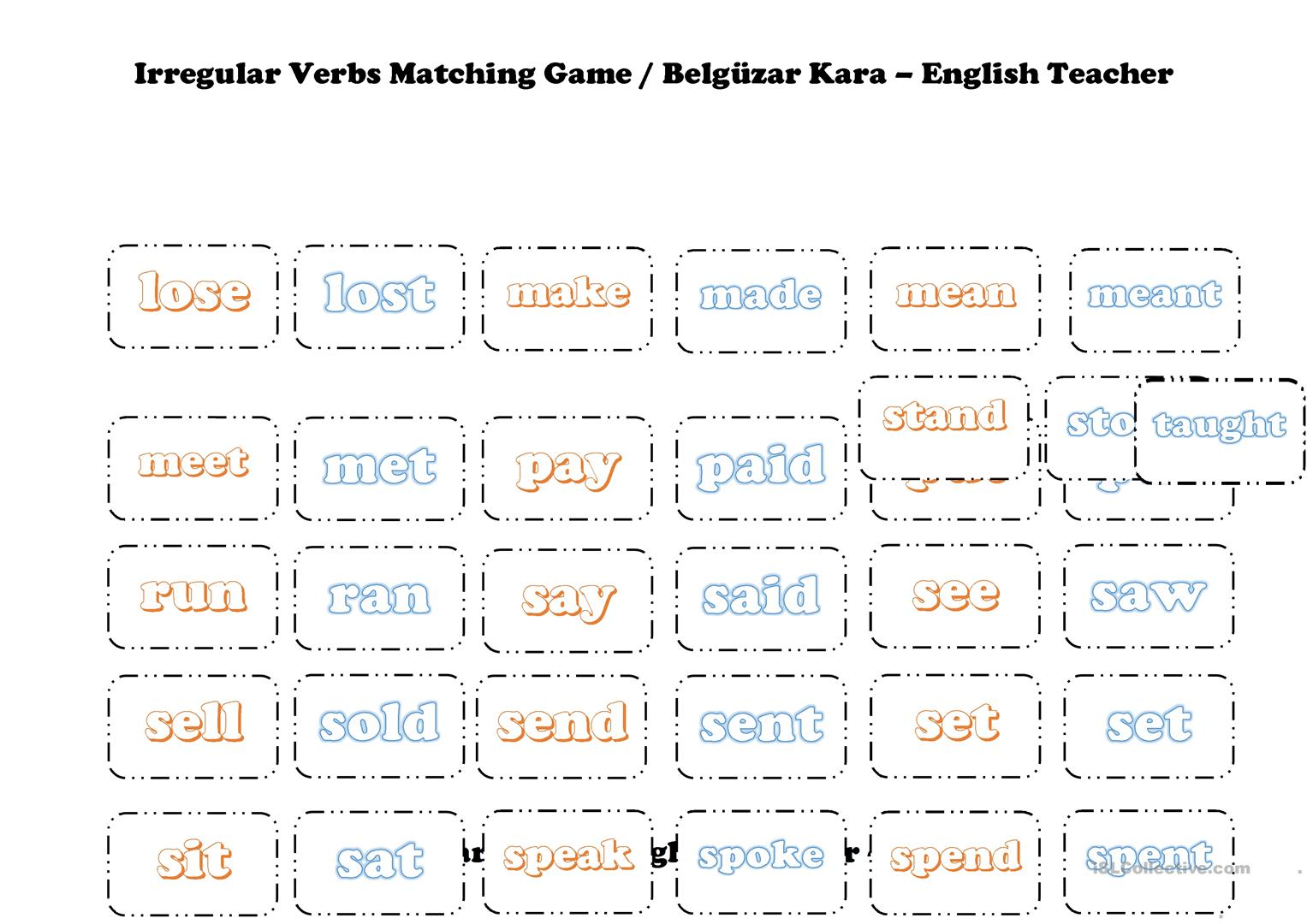 Irregular Verbs Matching Game Worksheet