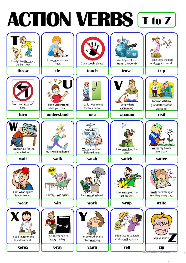 Pictionary  Action Verb Set (5)  From T To Z Worksheet
