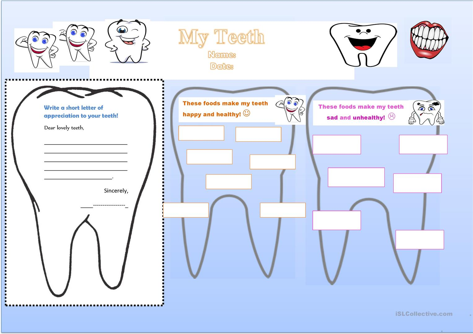 Write A Letter Of Appreciation To Your Teeth Worksheet