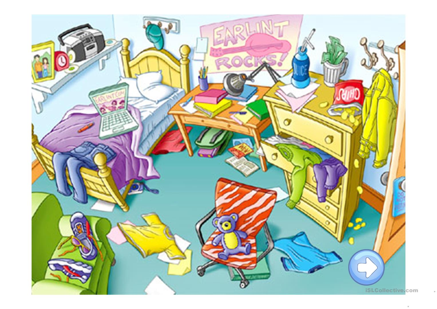 A Messy Room 1 A Memory Game Prepositions Worksheet