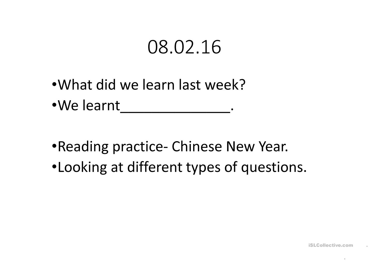 Esl Worksheet New Year