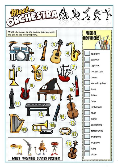 small resolution of English ESL musical instruments worksheets - Most downloaded (45 Results)
