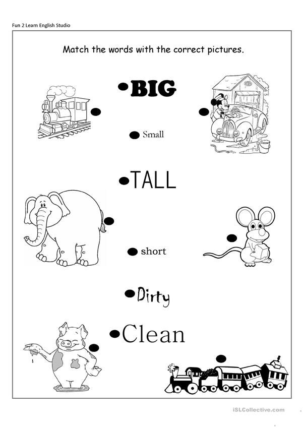 Opposite adjectives Big/small,short/long,clean/dirty
