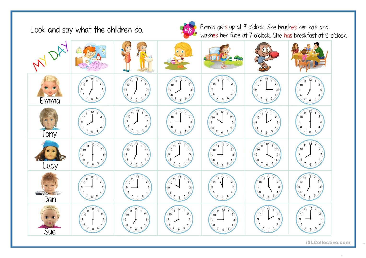 Daily Routines Telling The Time Worksheet