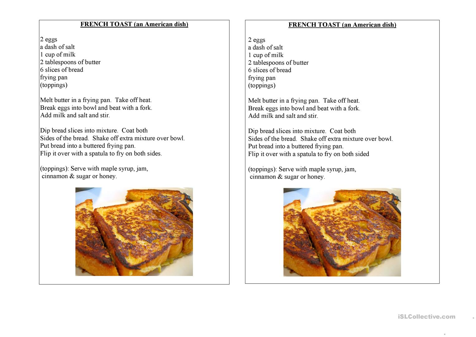 French Toast An American Dish