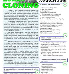 HUMAN CLONING - 11th grade test - English ESL Worksheets for distance  learning and physical classrooms [ 1079 x 763 Pixel ]