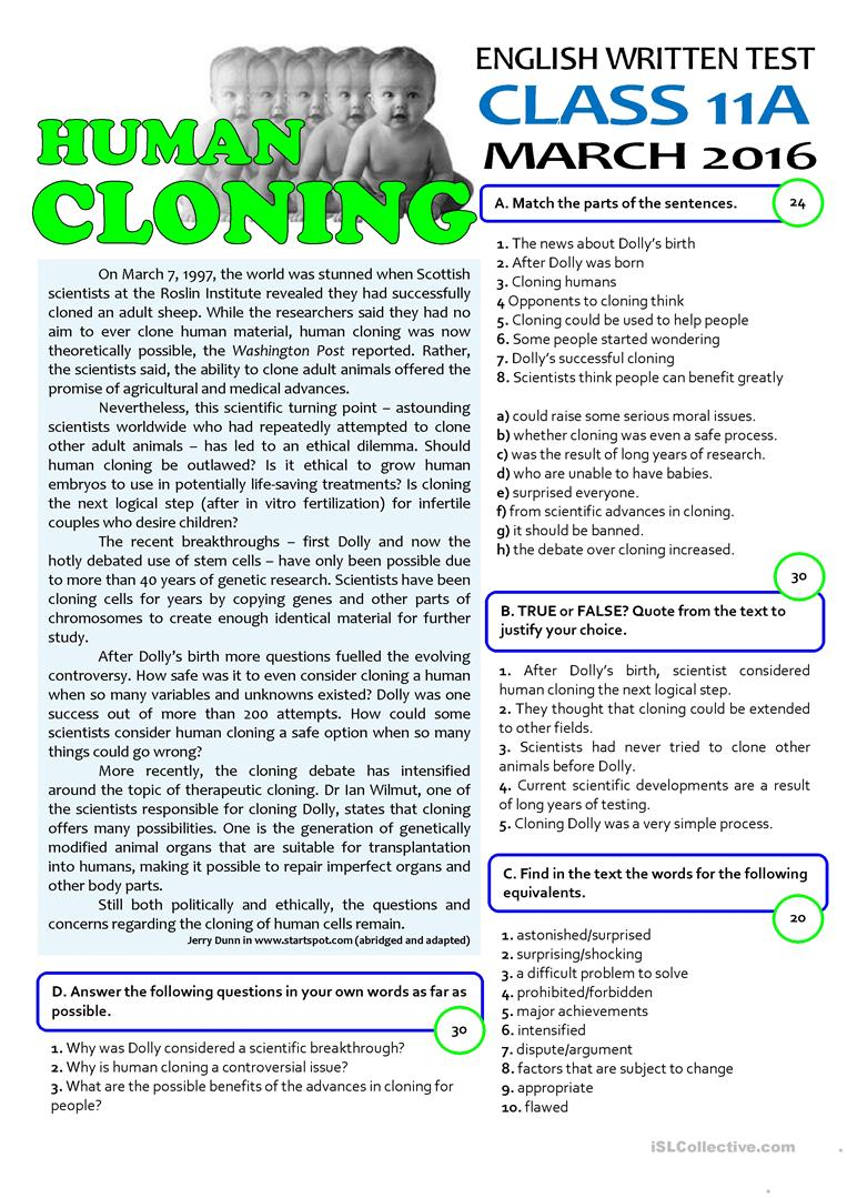 hight resolution of HUMAN CLONING - 11th grade test - English ESL Worksheets for distance  learning and physical classrooms