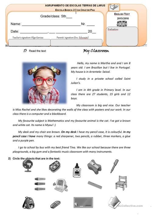 small resolution of 5th form/ 5th grade English Test Classroom Objects/School places/ School  subjects - English ESL Worksheets for distance learning and physical  classrooms