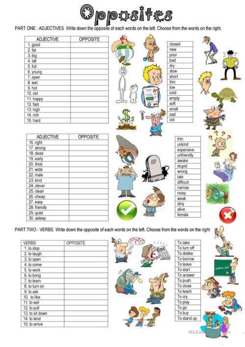 small resolution of English ESL Opposites (antonyms) worksheets - Most downloaded (100 Results)