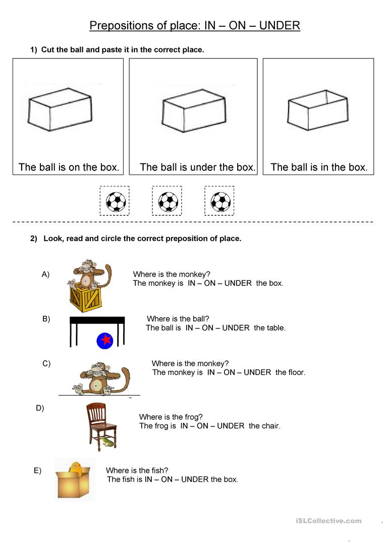 hight resolution of Prepositions of place IN ON UNDER - English ESL Worksheets for distance  learning and physical classrooms