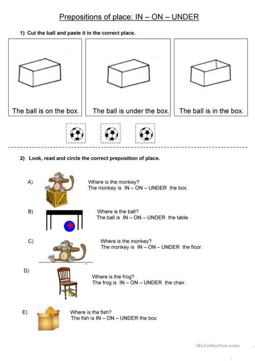 small resolution of Prepositions of place IN ON UNDER - English ESL Worksheets for distance  learning and physical classrooms