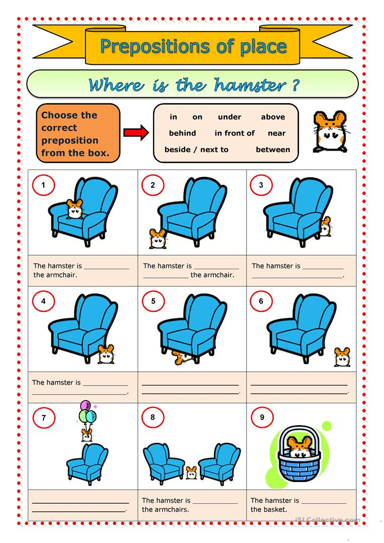 Prepositions of place - English ESL Worksheets for distance learning and physical classrooms