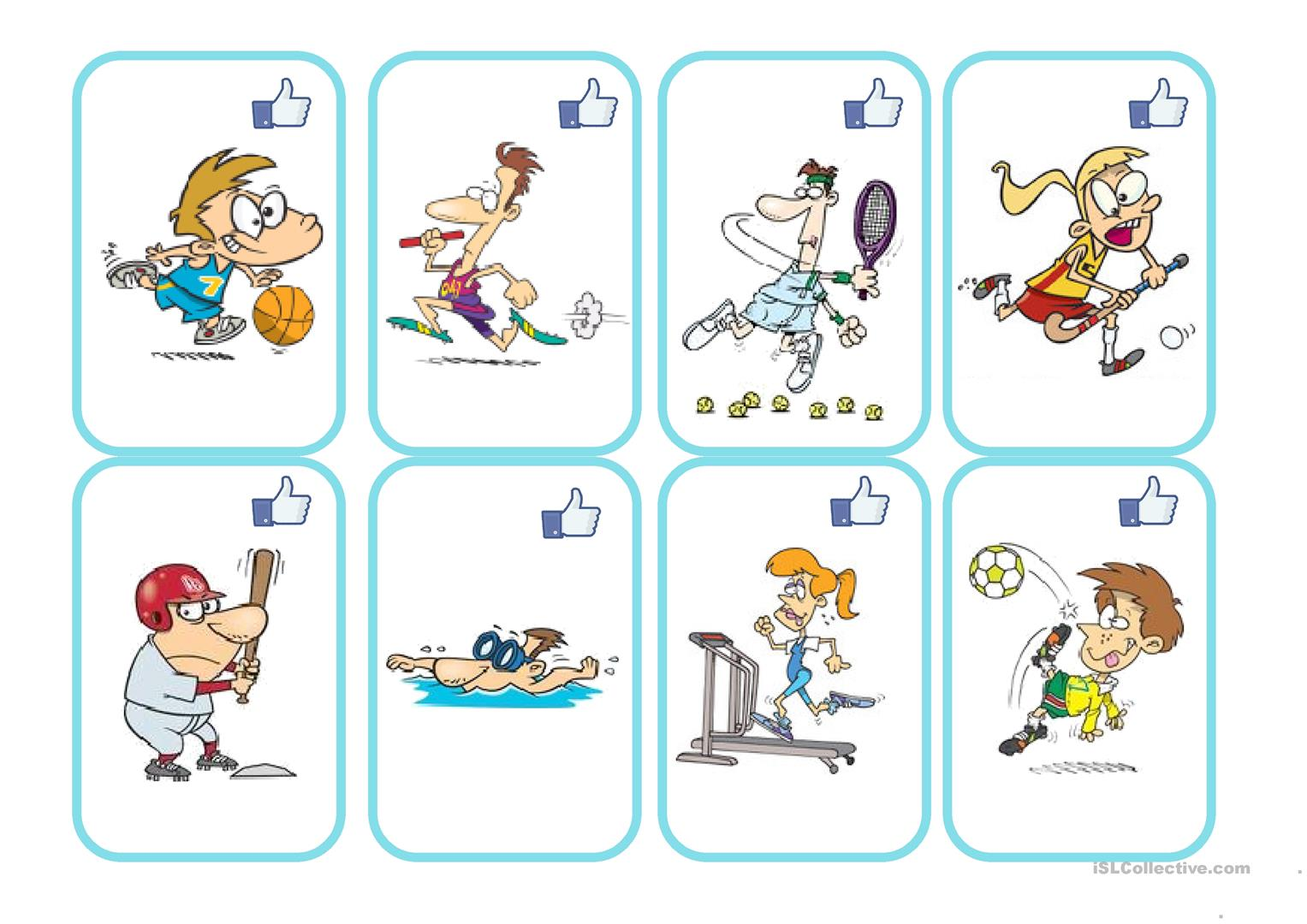 Sports And Equipment Card Games Worksheet