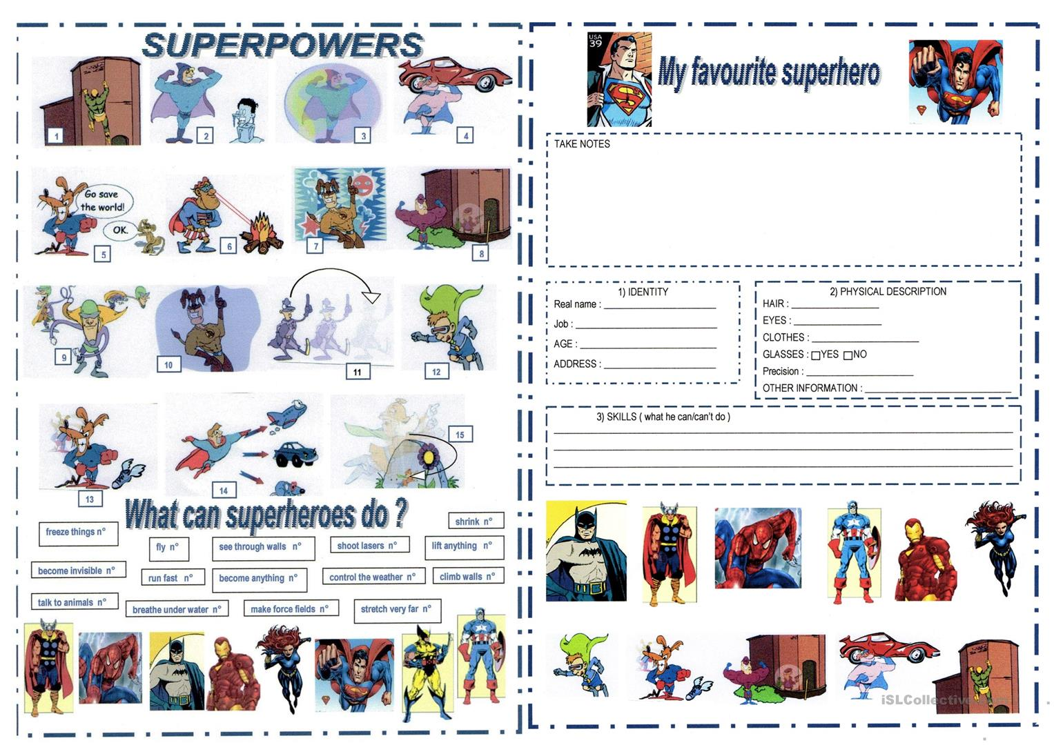 Superheroes And Superpowers Worksheet