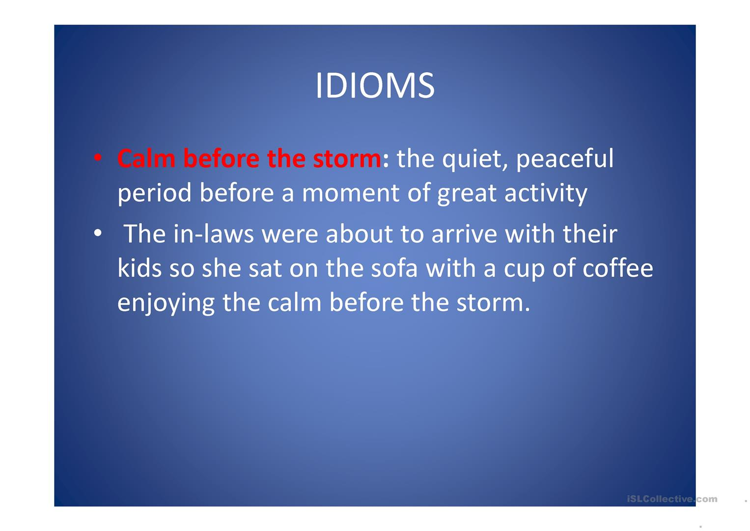Weather Idioms Worksheet