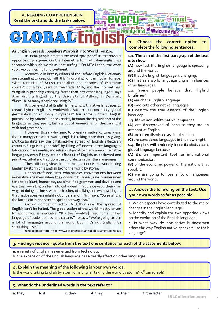 hight resolution of GLOBAL ENGLISH - 12th exam - English ESL Worksheets for distance learning  and physical classrooms