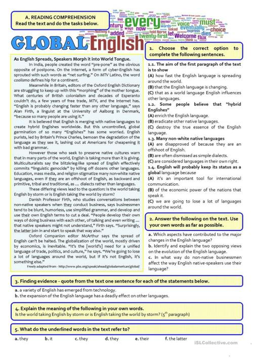 small resolution of GLOBAL ENGLISH - 12th exam - English ESL Worksheets for distance learning  and physical classrooms