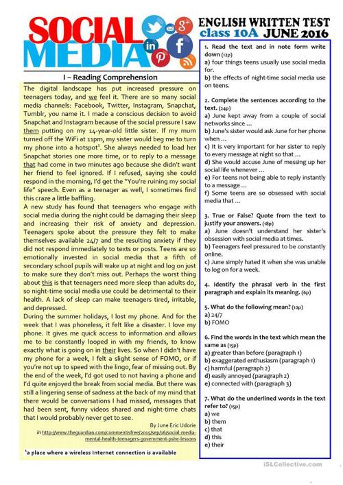 small resolution of SOCIAL MEDIA - 10th grade test - English ESL Worksheets for distance  learning and physical classrooms