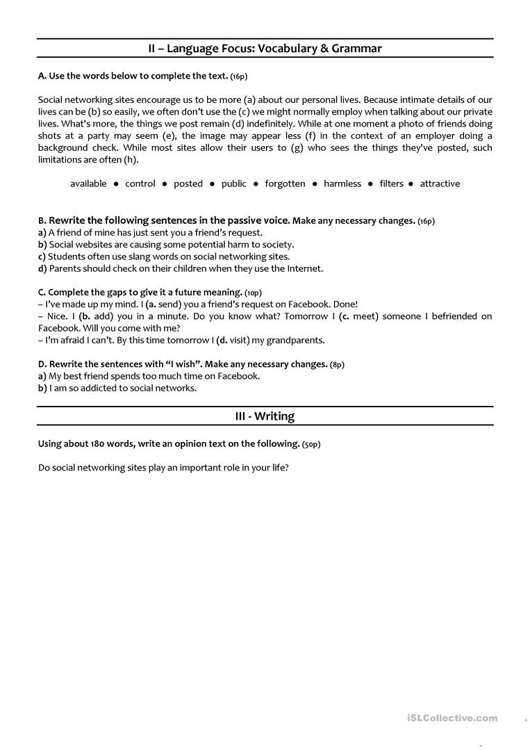 medium resolution of SOCIAL MEDIA - 10th grade test - English ESL Worksheets for distance  learning and physical classrooms