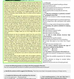 STUDYING ABROAD - 11th grade exam - English ESL Worksheets for distance  learning and physical classrooms [ 1079 x 763 Pixel ]