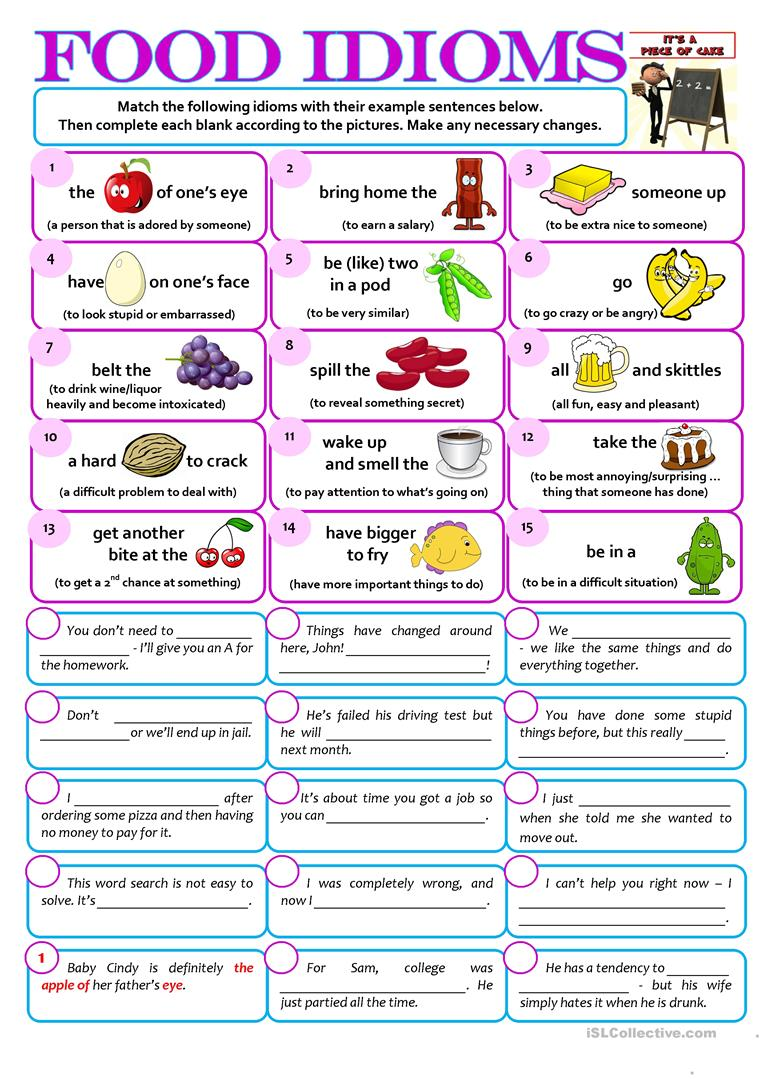 hight resolution of English ESL food idioms worksheets - Most downloaded (29 Results)