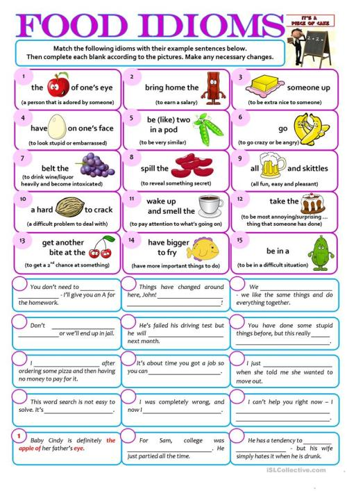 small resolution of English ESL food idioms worksheets - Most downloaded (29 Results)