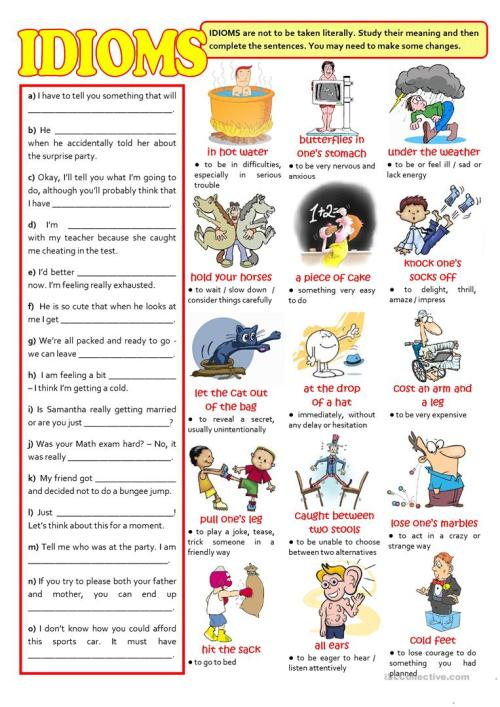 small resolution of English ESL Idioms worksheets - Most downloaded (444 Results)