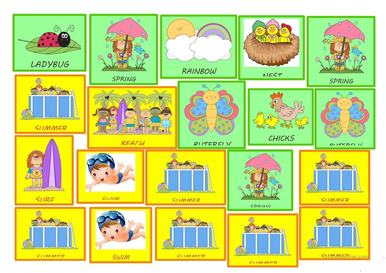 Four Seasons Stickers For Kids Worksheet