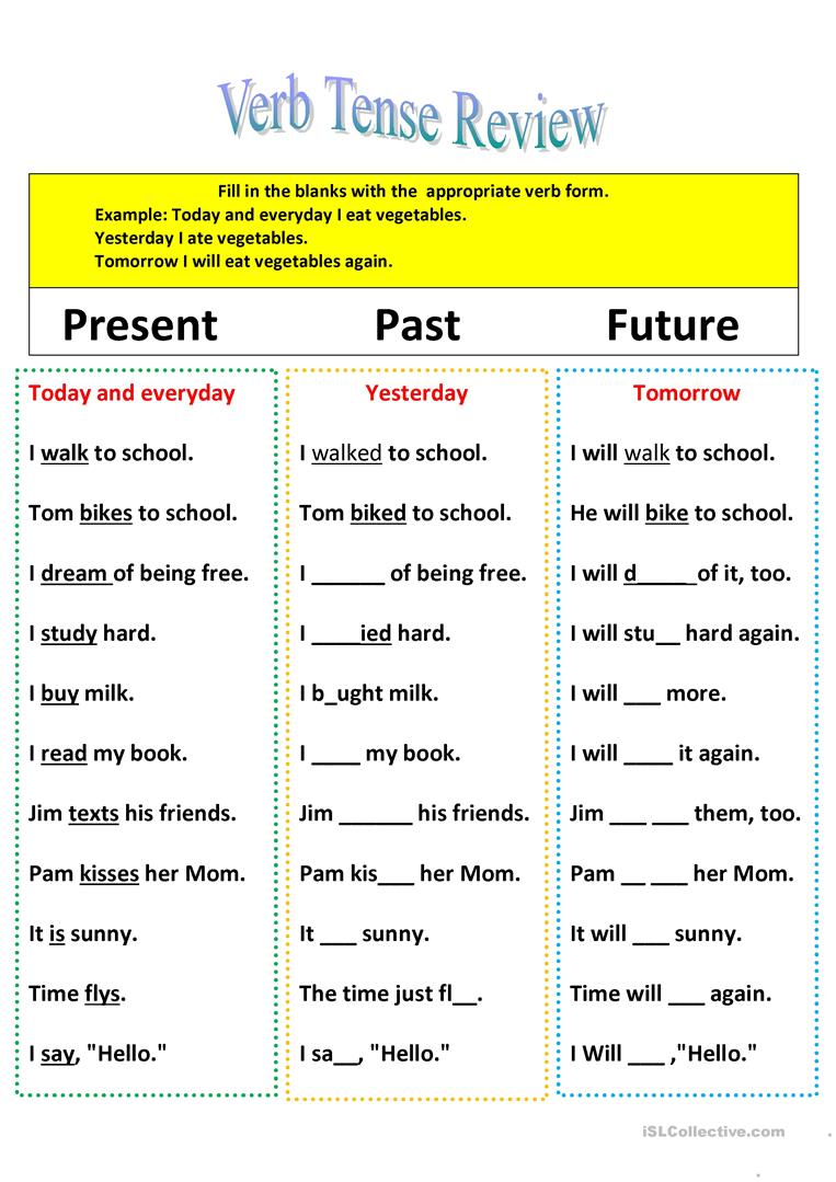 Revision Of Verb Tenses Present, Past, And Future Worksheet  Free Esl Printable Worksheets Made