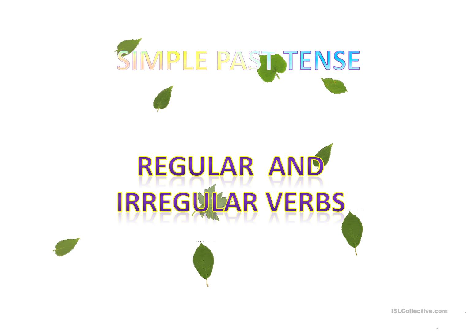 Past Tense Worksheet Islcollective
