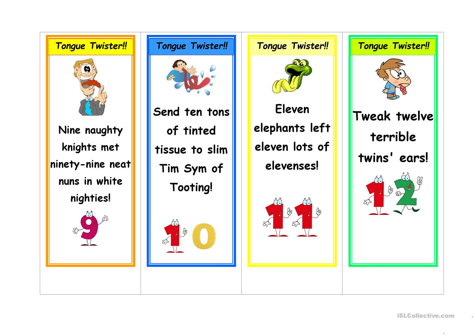 Tongue Twister Bookmarkers
