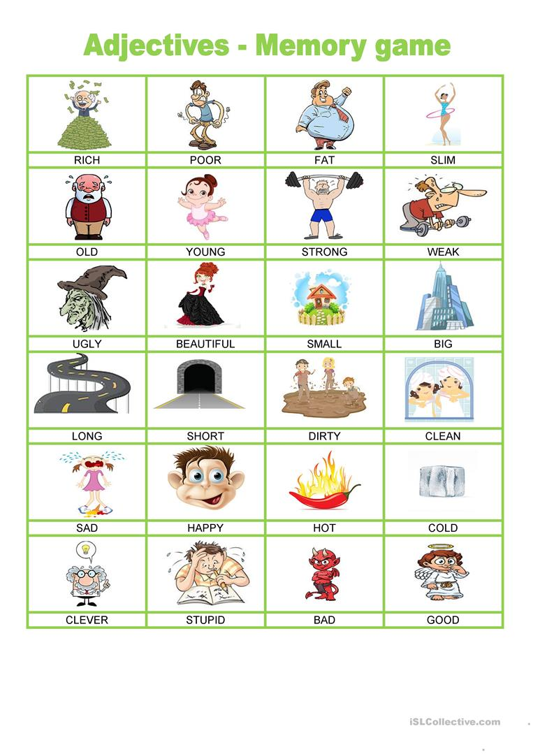 Adjectives - Memory game - English ESL Worksheets for distance learning and physical classrooms
