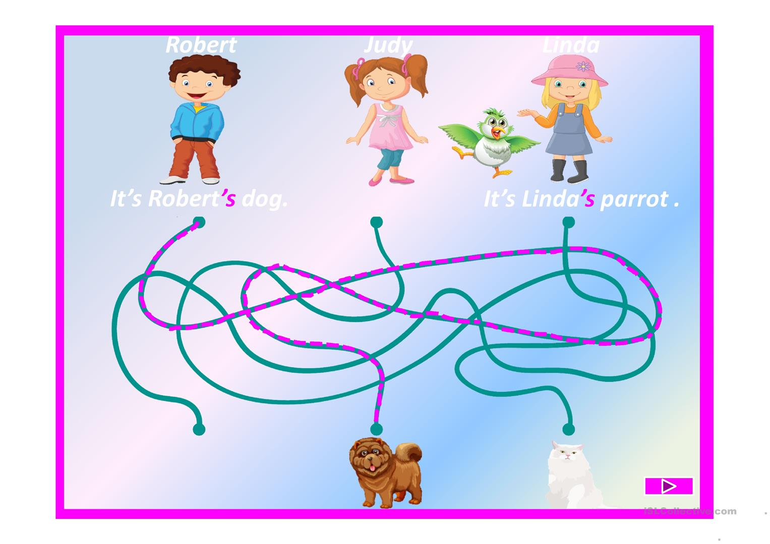 Find The Path Game On Possessive Case Worksheet