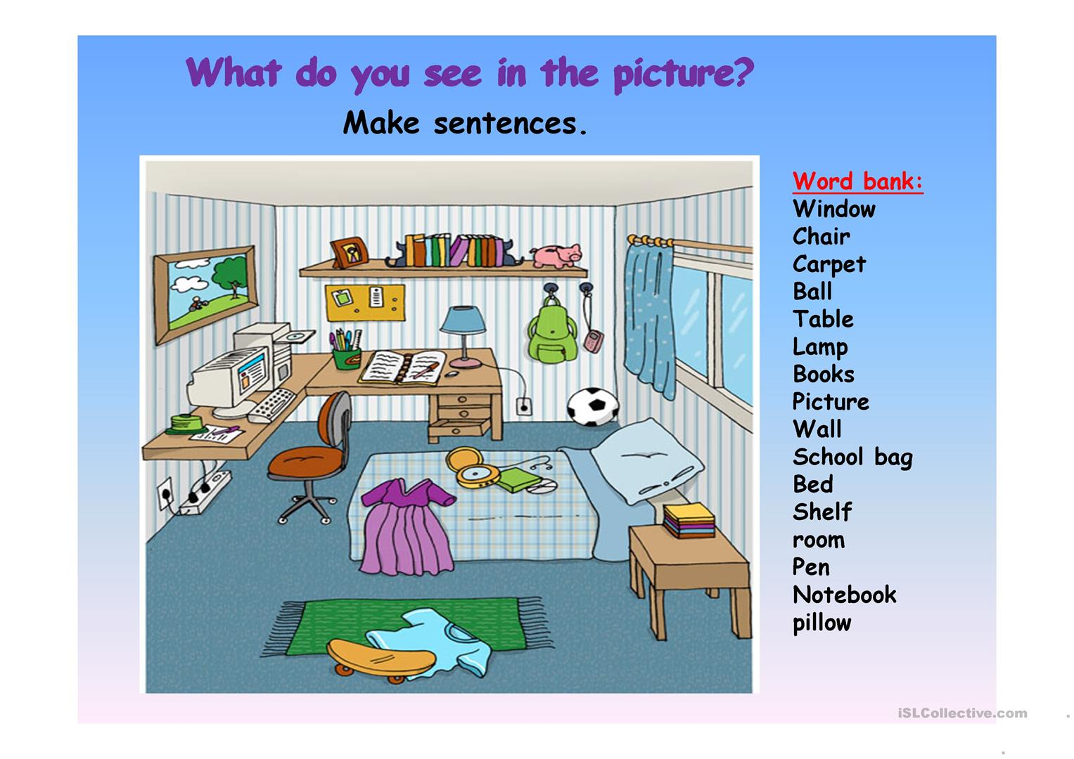 Picture Description Of A Bedroom Worksheet
