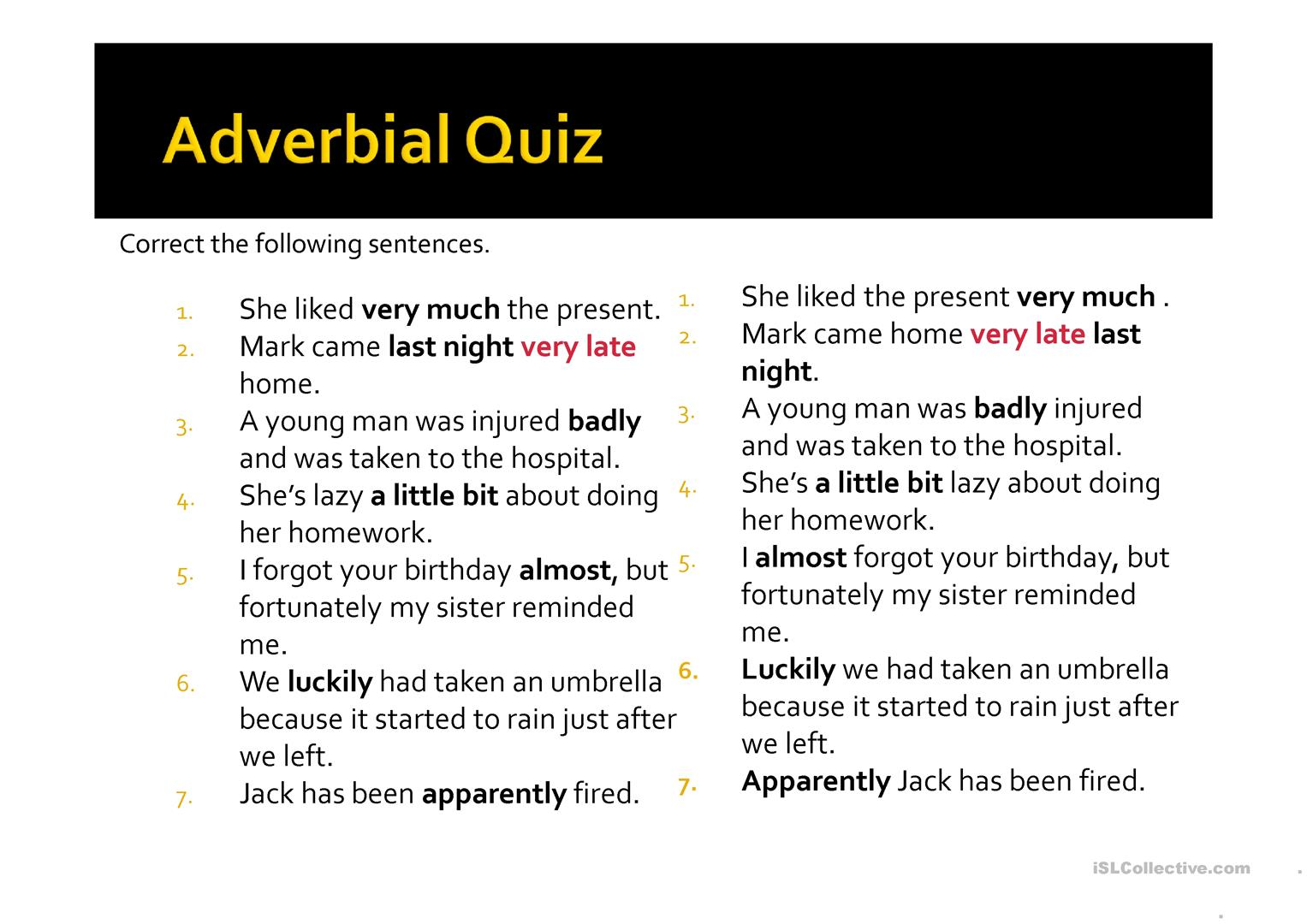 Adverbs And Adverbial Phrases Worksheet