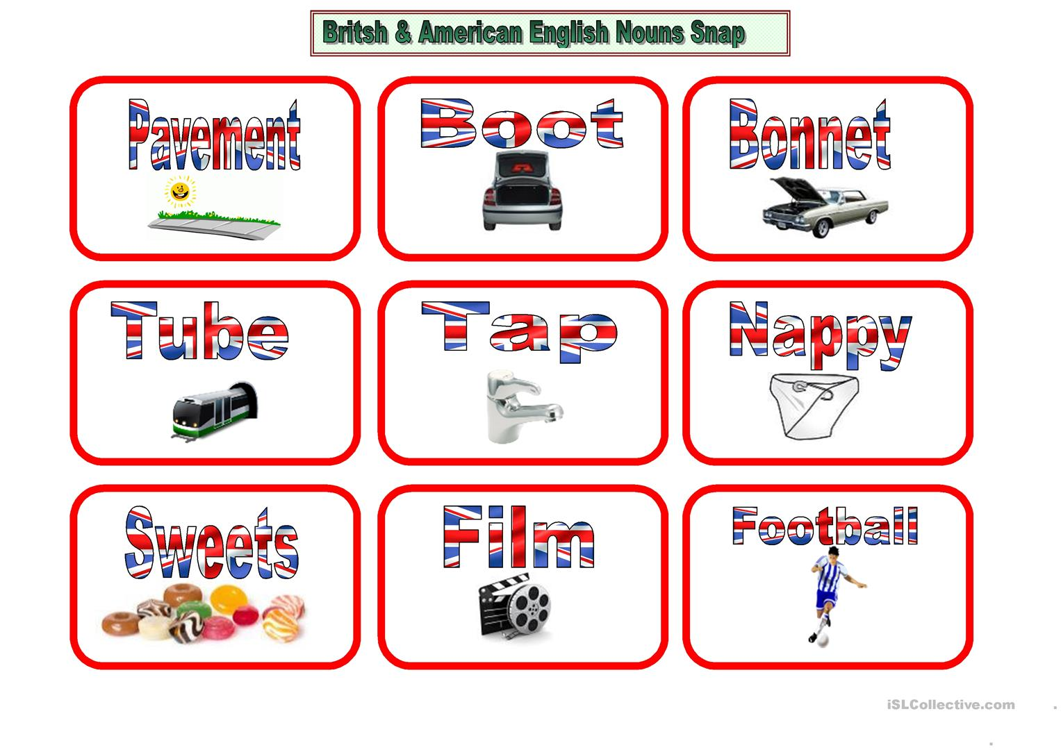 American And British English Snap Worksheet