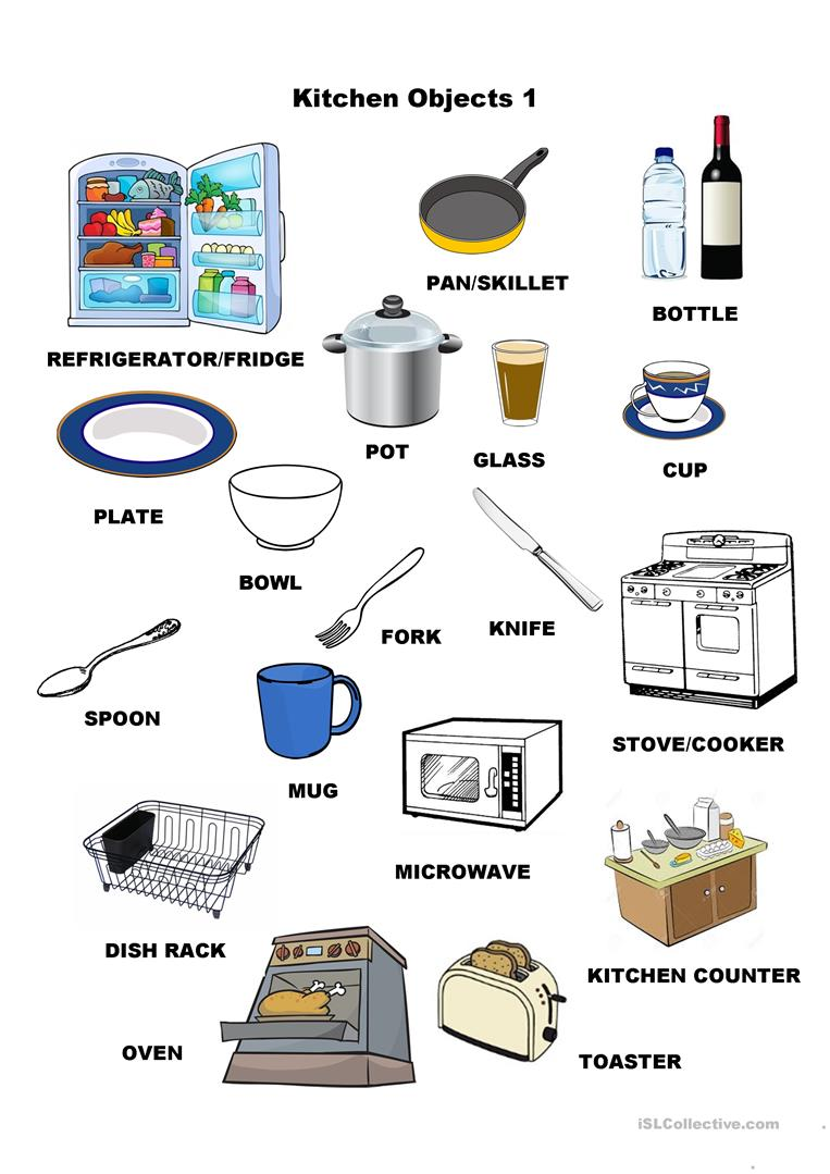 hight resolution of Kitchen Objects 1 - English ESL Worksheets for distance learning and  physical classrooms
