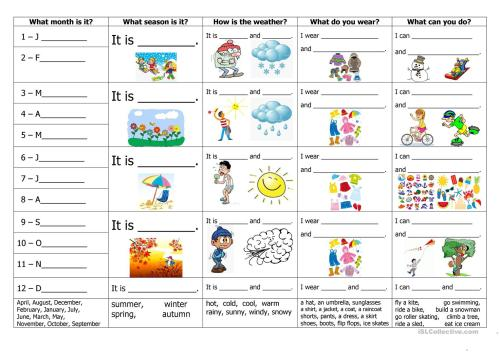 small resolution of English ESL Months worksheets - Most downloaded (210 Results)