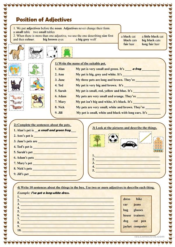 Position Of Adjectives Worksheet