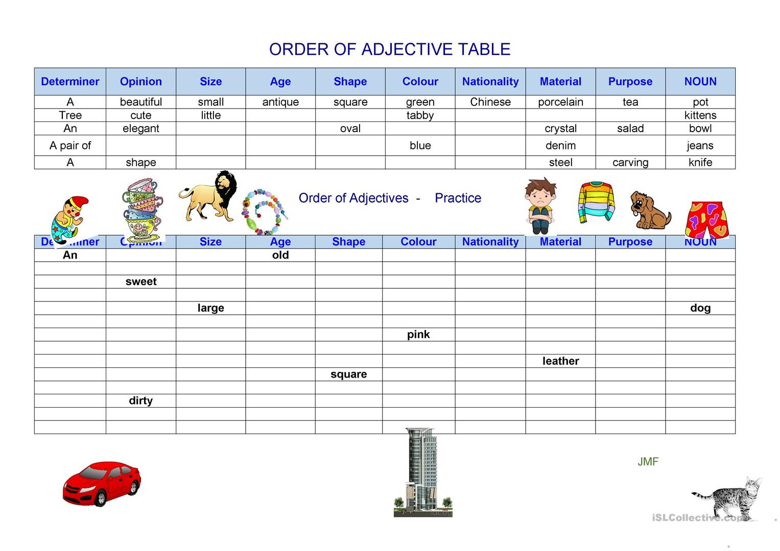 Adjectives Word Order Worksheet