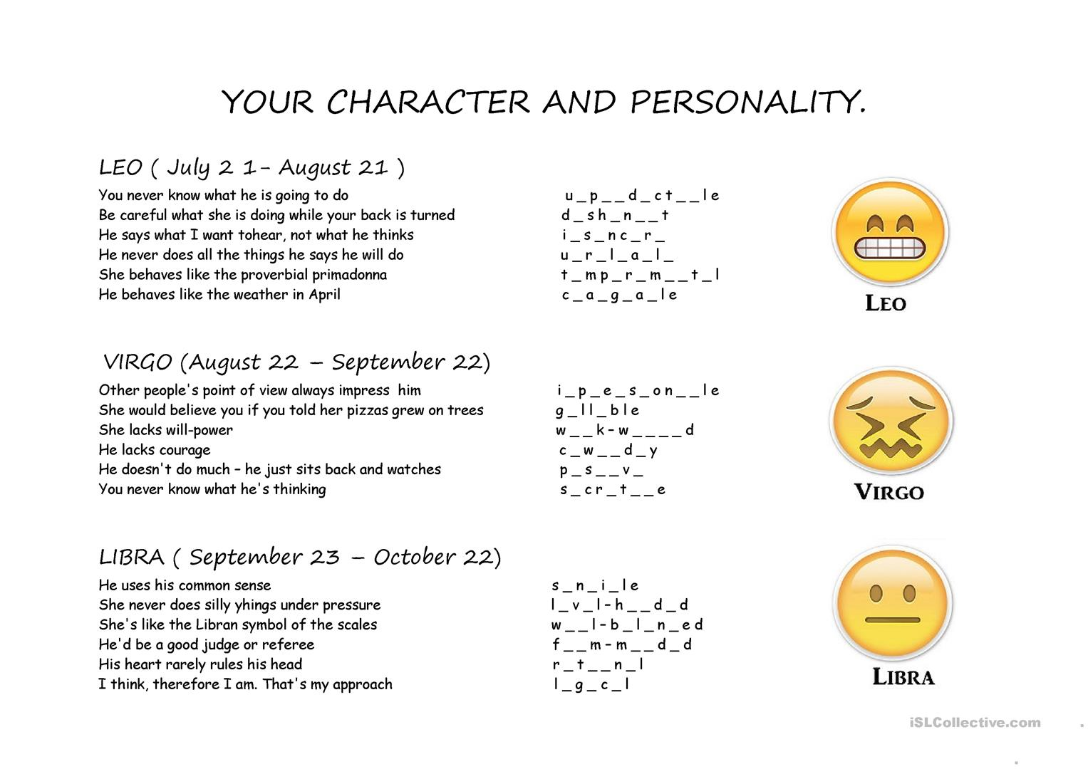 Character And Personality Part 2