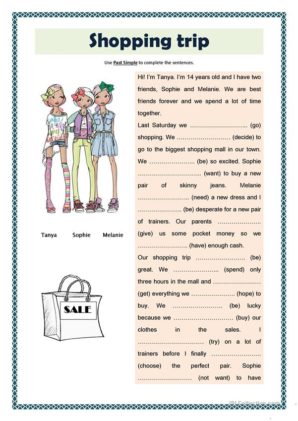 Shopping trip - Past Simple - English ESL Worksheets for distance learning and physical classrooms