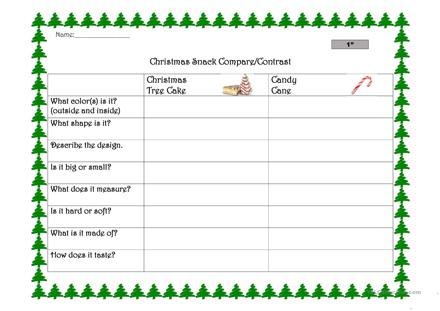 Christmas Snack Compare And Contrast Worksheet