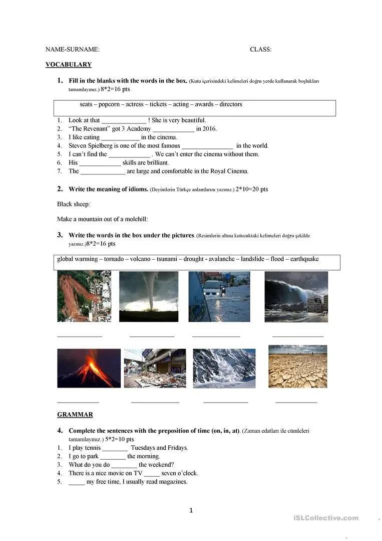 medium resolution of Grade 9 exam - English ESL Worksheets for distance learning and physical  classrooms