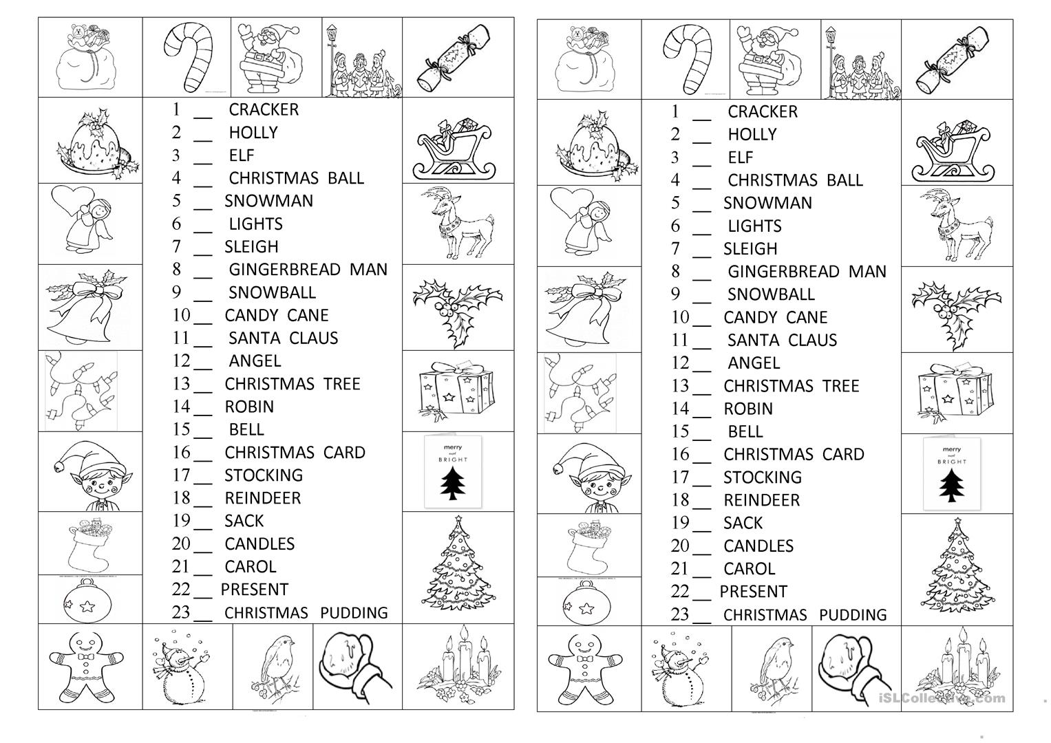 Look And Number The Christmas Symbols Worksheet