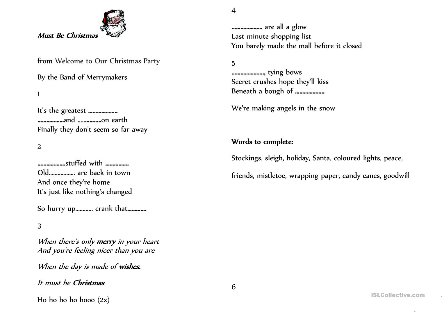 Must Be Christmas Christmas Carol Worksheet