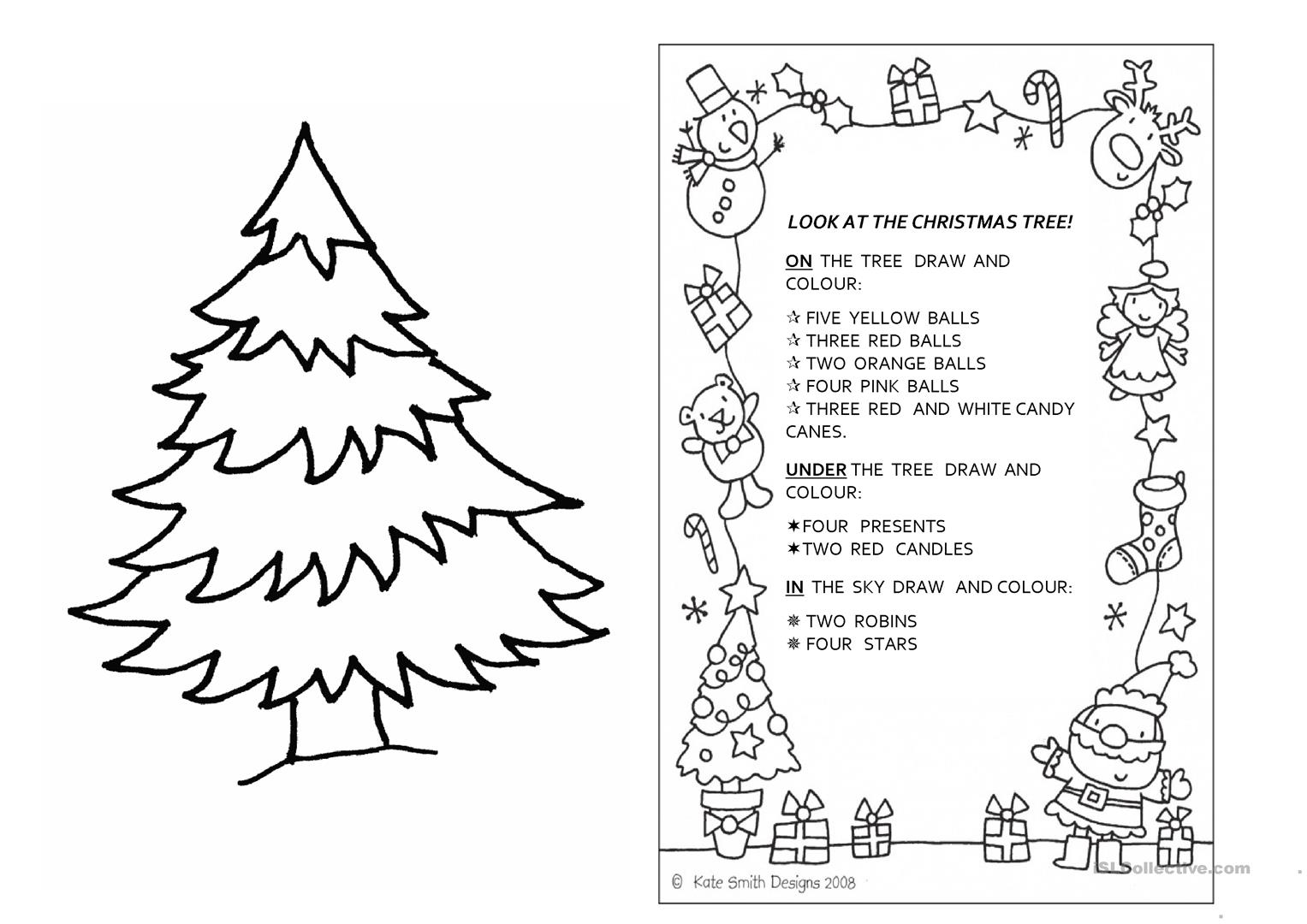 English Worksheet Christmas Coloring
