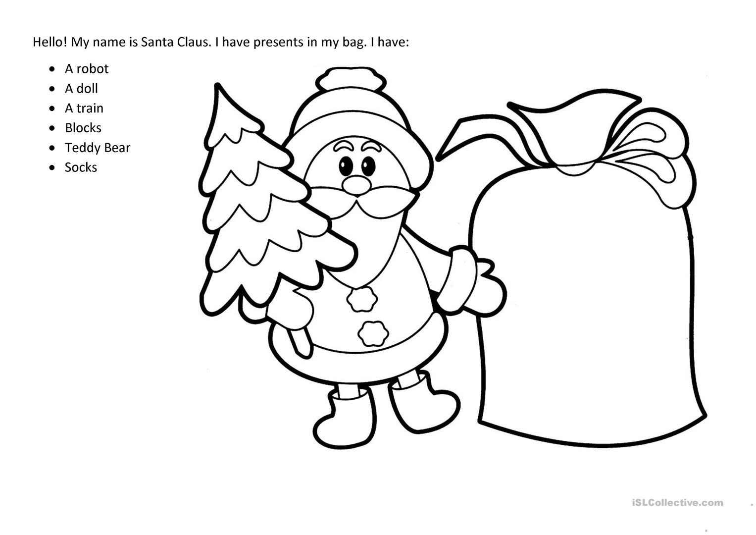 Santa S Bag Worksheet